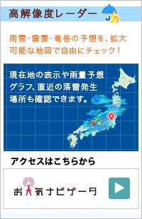 お天気ナビゲータ高解像度レーダー